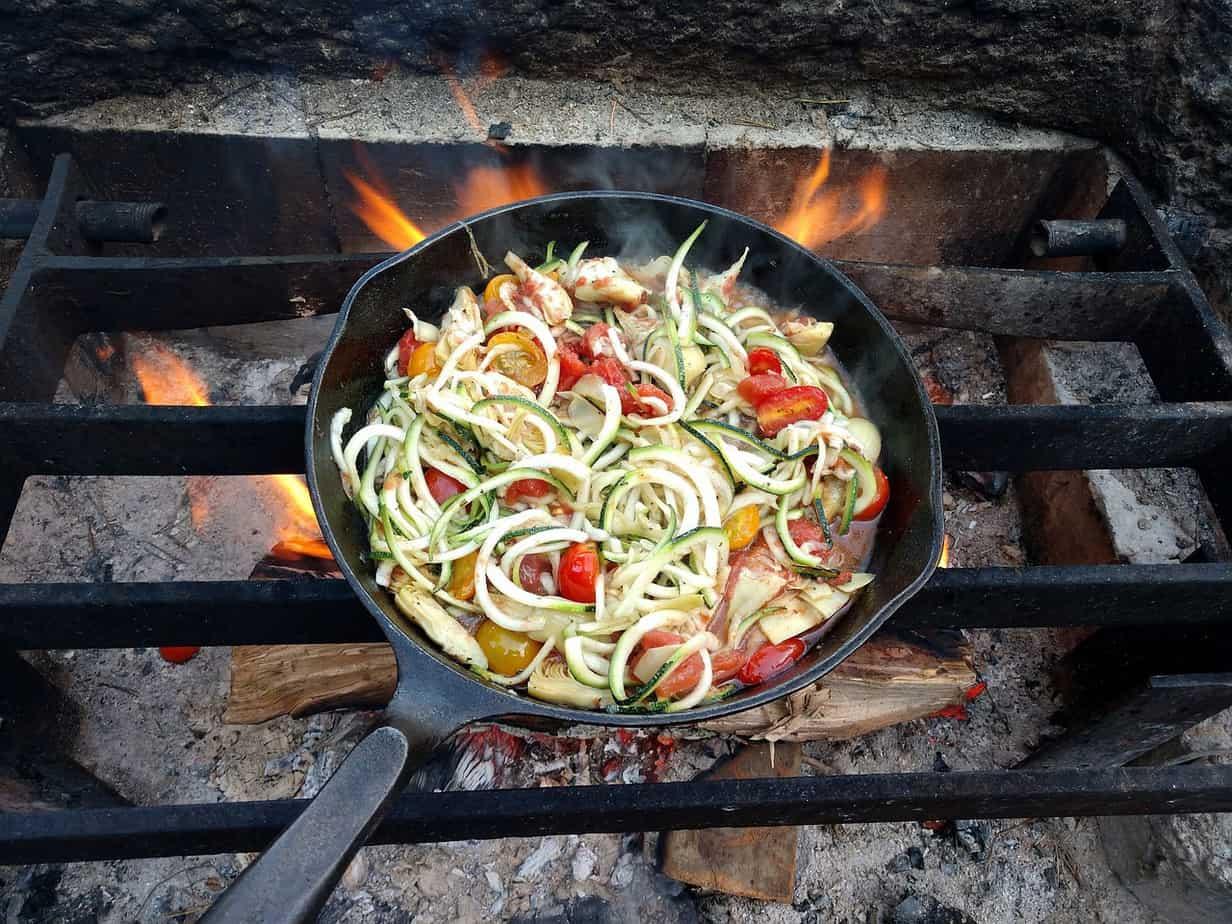 Cast Iron Skillet Over Campfire
