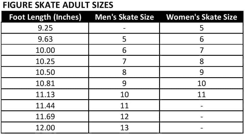 Sample Ice Skate Size Chart